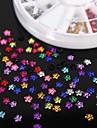 600PCS 12Colours Flower Shape Acrylic Rhinestones Wheel Nail Art Decoration