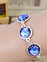 Couro Galaxy Handmade DIY Starry Sky Tempo Gem liga de prata de vidro urdidura Bracelet (1 Pc)