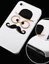 Hat Glasses and Beard Pattern Black Frame Back Case for iPhone 4/4S