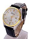 Men\'s Calendar Round Dial PU Band Quartz Analog Wrist Watch(Assorted Color)
