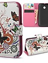 Multi-color Butterflies Circles Wallet PU Leather with Stand Case Cover for Motorola Moto E