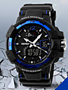 Men's Military Design Multifunctional Dual Time Zones Rubber Band Sporty Wrist Watch Cool Watch Unique Watch