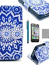 COCO FUN® Blue Peacock PU Leather Full Body Case with Screen Protector, Stand and Stylus for iPhone 4/4S