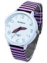 Women\'s White Round Dial PU Band Quartz Analog Wrist Watch (Assorted Colors)
