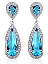 S&V Brass With Cubic Zirconia Drop Earrings(More Colors)