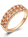 Fashion Austria Crystal Double Row of Zircon Gold Plate Alloy Statement Rings(1 Pc)