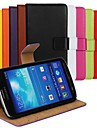 Solid Color Genuine Leather Full Body Cover with Card Slot for Samsung Galaxy S4 Active i9295
