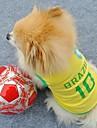 개 / 고양이 티셔츠 옐로우 여름 스포츠 웨딩 / 코스프레