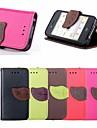 motif feuille de boucle en cuir PU cas de tout le corps avec fente pour carte et Stand pour iPhone 4 / 4s (couleurs assorties)