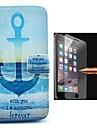 la pleine boitier de corps d\'ancrage du navire oattern en cuir PU avec le film de verre anti-explosion pour iPhone 6