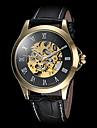 Hombre Reloj Esqueleto Cuerda Automatica Huecograbado Piel Banda Reloj de Pulsera Negro / Marron