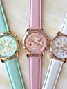 Women\'s Fashion Style Geneva Leather Band Quartz Analog Wrist Watch (Assorted Colors)