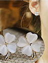 European Clover Opal  Alloy Clip Earrings(White) (1Pair)
