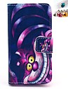 Cheshire Cat Pattern PU Leather Full Body Case with Card Slot and Stand for iPhone 4/4S