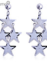 Lureme®Glitter 3 Layers Star Dangle Earrings