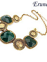 Eruner®Vintage Antique Copper Alloy Gem Pattern Necklace
