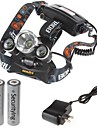 Cycling 4000 Lumens 3x CREE XM-L T6 LED Rechargeable Headlamp (2 x 18650 Black)