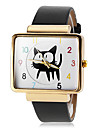 Women\'s Gold Square Case Cute Cat Pattern PU Band Quartz Wrist Watch (Assorted Colors) Cool Watches Unique Watches Fashion Watch