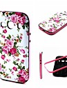 2-in-1 Pink Rose Peony Pattern TPU Back Cover with PC Bumper Shockproof Soft Case for Samsung Ace 4 G357 G357FZ