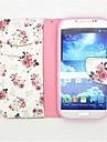 Para Samsung Galaxy Capinhas Porta-Cartao / Com Suporte / Flip / Estampada Capinha Corpo Inteiro Capinha Flor Couro PU Samsung S4