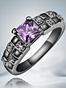 Classic Purple Zircon Black Gold Plated Alloy Statement Rings(1pc)