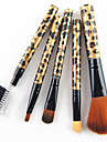 5PCS Nylon Hair Golden Leopard Design Handle Cosmetic Makeup Brush Set
