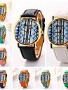 Women Blue Streak Pu Leather Diamond Brand Luxury Lady Bracket Dress Wristwatch C&D-192