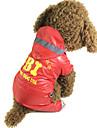 Perros Impermeable Rojo / Negro Ropa para Perro Primavera/Otono Letra y Numero / Policia/Militar A Prueba de Agua