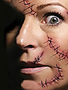 Halloween Terror Scary Suture Needle Wound Tattoo Stickers Temporary Tattoos(1 Pc)