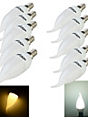 10PCS YouOKLight®  E14 3W CRI=70 200lm 8-SMD2835 Warm White Light Cool White Light LED Candle Bulbs(220~240V)