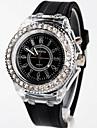 Dames Modieus horloge Kwarts LED Silicone Band Zwart / Wit Merk-