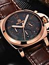 MEGIR Мужской Наручные часы Кварцевый Японский кварц Календарь Защита от влаги Кожа Группа Коричневый