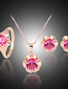 Lucky Doll Women\'s All Matching Crystal Rose Gold Plated Zirconia Flower Necklace & Earrings & Ring Jewelry Sets