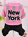 Dog / Cat Coat / Hoodie / Pants Blue / Pink Winter Letter & Number / Stripe Wedding / Cosplay