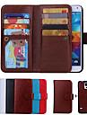 용 삼성 갤럭시 케이스 카드 홀더 / 지갑 / 플립 케이스 풀 바디 케이스 단색 인조 가죽 Samsung S6 edge / S6 / S5 / S4