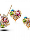 Ensemble de bijoux Cristal Strass Mode Forme de Coeur Or Or Rose Set de Bijoux Mariage Soiree Occasion speciale Anniversaire Fiancailles