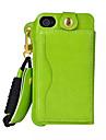 slot para cartao de couro pu pendurar corda pendurada ao redor do pescoco de telefone celular coldre para iphone 4 / 4s (cores sortidas)