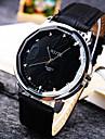 남성 손목 시계 일본 쿼츠 가죽 밴드 스파클 블랙 / 화이트 / 브라운 상표-