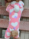 Dog / Cat Hoodie / Pants Pink Winter Hearts Wedding / Cosplay