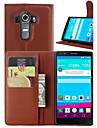Для Кейс для LG Бумажник для карт / Кошелек / со стендом / Флип Кейс для Чехол Кейс для Один цвет Твердый Искусственная кожа LGLG G4 / LG
