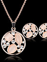 Lucky Doll Women\'s Vintage Crystal Rose Gold Plated Zirconia Cut Out Necklace & Earrings Jewelry Sets