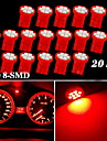 20x roed t10 W5W 158 168 192 194 906 8-SMD LED dash speedometer instrument lys
