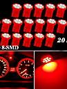 20x röd t10 W5W 158 168 192 194 906 8-SMD LED streck hastighetsmätare instrument ljus