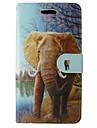 Para Capinha iPhone 5 Carteira / Porta-Cartao / Com Suporte / Flip / Estampada Capinha Corpo Inteiro Capinha Elefante Rigida Couro PU