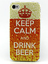 Drink Beer Painting Pattern TPU Soft Case for iPhone 4/4S
