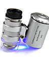 Microscopio menor do joalheiro 60X 2 LED Mini Microscopio de bolso Lupa Lupa Joalheiro