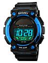 SKMEI 남성 스포츠 시계 손목 시계 LED 달력 크로노그래프 방수 경보 태양 에너지 스포츠 시계 디지털 PU 밴드 블랙