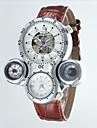 Heren Skeleton horloge Automatisch opwindmechanisme Compass / Thermometers / Dubbele tijdzones Leer Band Polshorloge Zwart / Bruin
