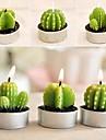 6 х Кактус завод горшок установить свечи свечи рождества партии свадебные украшения (случайный цвет)