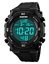 Hommes Bracelet Montre Numerique LCD / Etanche / penggera / Energie solaire / Montre de Sport PU Bande Noir Marque- SKMEI